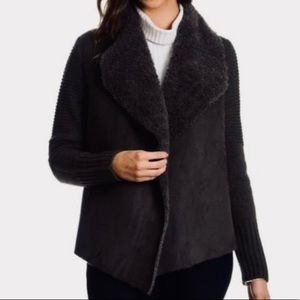 Chelsea & Theodore Faux Suede and Fur Cardigan